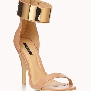 Ankle Straps Gold Steel Nude Heels